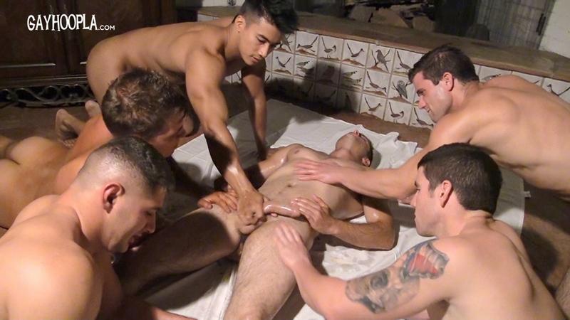 3way gay porn Kai Alexander, James Colton and Jordan Downing continue.