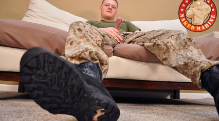 Naked Marine: Gay Marine ginger haired Lance Corporal Chris, naked and jerking!