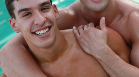 Latino hotties Fratmen Jace and Fratmen Rico first man on man encounter