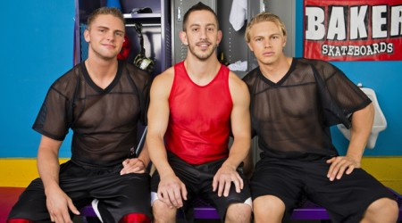 Next Door Buddies – Locker room ass bust with Brady Jensen, Campbell Stevens and Bryan Cole