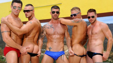Poolside orgy with Philip Aubrey, Adam Killian, Jessie Colter, Trenton Ducati and Hans Berlin