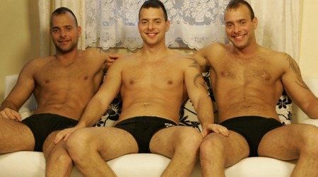 The gay triplets in another threesome jerk off session