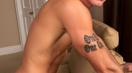 Uncut cock tattooed Sheridan shows off his foreskin at Sean Cody