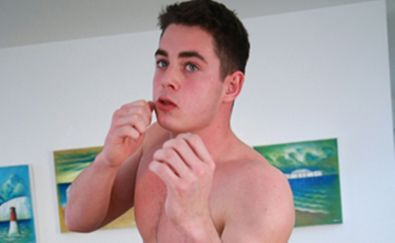 Sneak Peek 21 year old boxer Damian Willaby strips naked and jerks his 7 inch uncut dick