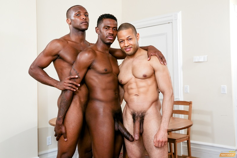 Hot black gay threesome Rex Cobra, Krave Moore and Andre Donovan hardcore ass fucking