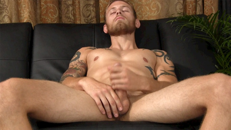 StraightFraternity Blonde straight bearded hunk Shawn shot physique strokes out thick cum load tattoos muscled stud massive dick 009 gay porn sex porno video pics gallery photo - Blonde straight bearded hunk jerks his first ever cumshot online