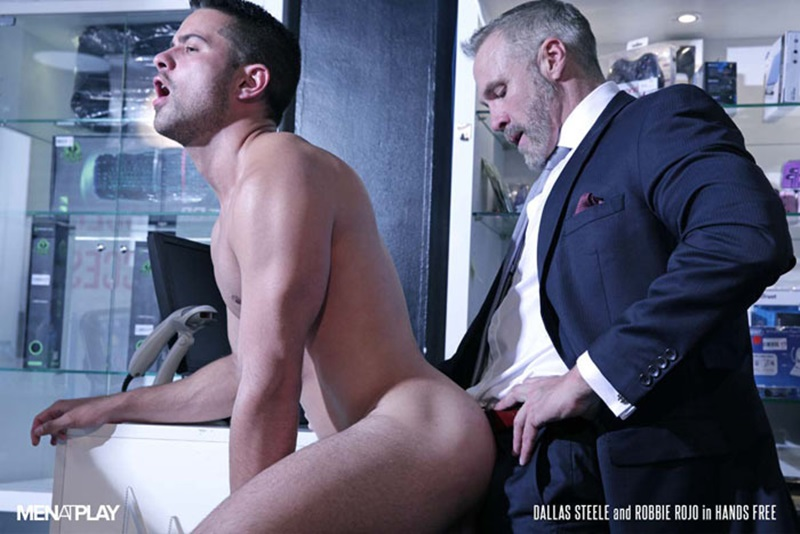 Sexy young bottom boy Robbie Rojo hot ass fucking by hot daddy Dallas Steele