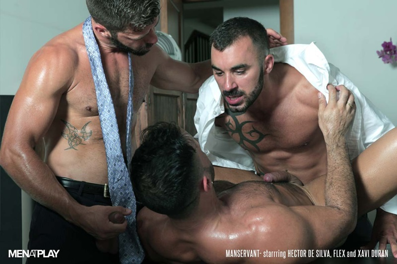 Flex Xtremmo and Hector de Silva both suck on Xavi Duran's thick hard dick