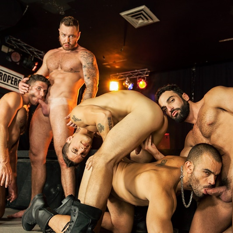 Hot gay orgy with Jimmy Fanz, Pierre Fitch, Damien Crosse, Abraham Al Malek and Dominique Hansson