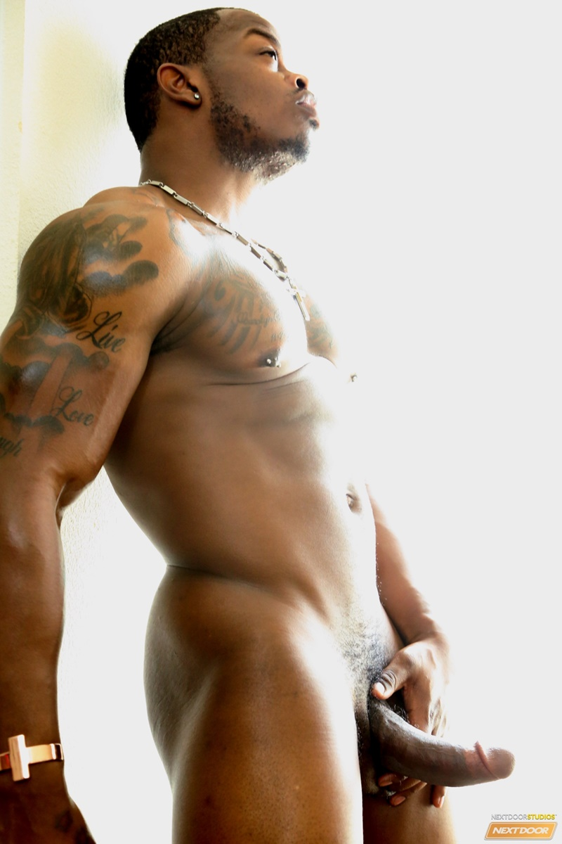 Sexy Naked Muscle Stud Mustang Jerks His Big Black Dick To -1417