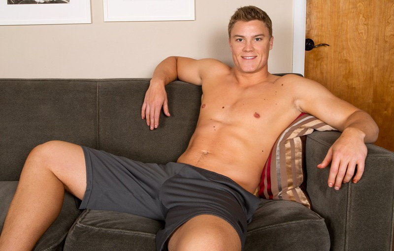 Young beefy Sean Cody Wilson jerks out a huge cumload