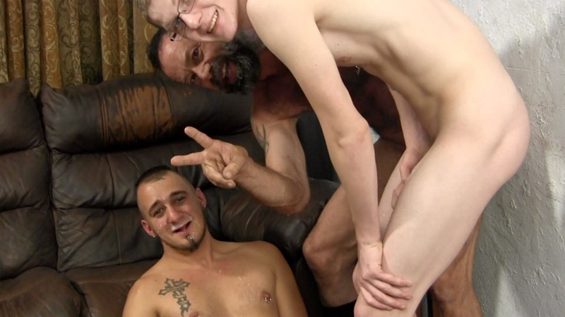 Old gay man eats young mans ass and cum