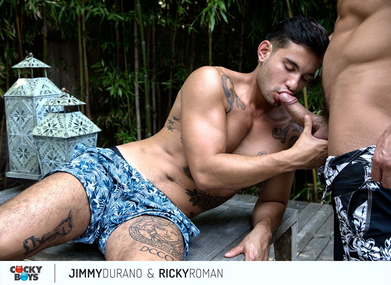 Sexy hunk Jimmy Durano's big dick fucking Ricky Roman's tight muscled asshole