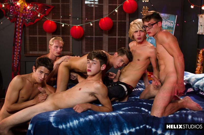 Mass gay orgy Max Carter, Kyle Ross, Evan Parker, Tyler Hill, Blake Mitchell, Joey Mills sucking and fucking