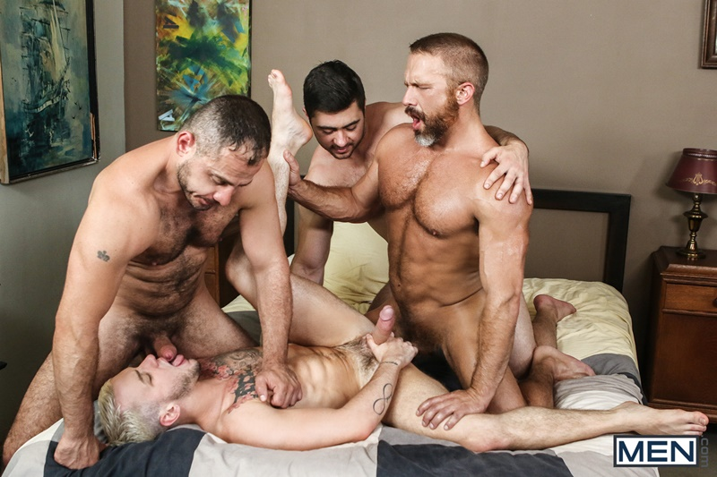 Sexy naked hunks Dirk Caber, Colton Grey, Marc Giacomo and Derek Bolt hardcore ass fucking orgy