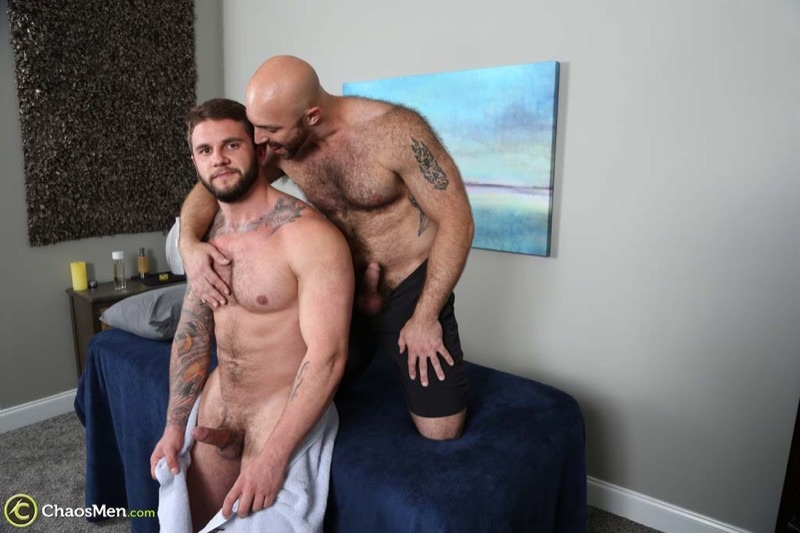 Hairy chested hunk Tatum Parks bare fucks Ronin's tight muscled asshole