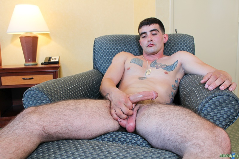 Sexy young military man Dominic Chavez jerks his huge dick to a massive cum load