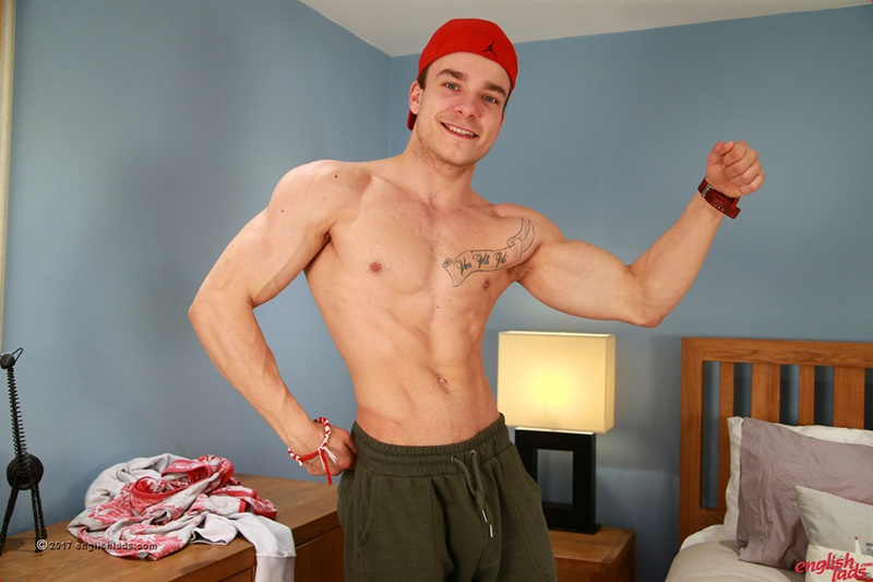 Young ripped straight muscle boy Lewis Connell jerks his big 7 inch uncut dick