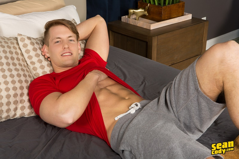 Straight young muscle dude Sean Cody Conrad jerks out a huge cum load