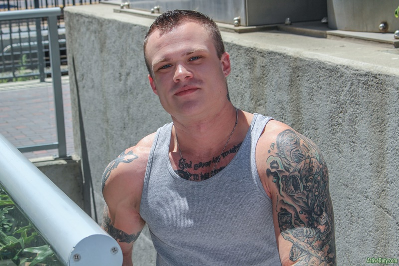 ActiveDuty sexy inked tattoo young muscle dude Cody Smith play hairy ass wanking big dick jerking bubble butt asshole 005 gay porn sex gallery pics video photo - Cody Smith loves to play with his hairy ass as he tugs away at his big dick