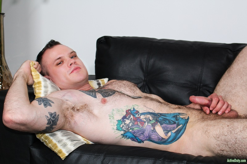 ActiveDuty sexy inked tattoo young muscle dude Cody Smith play hairy ass wanking big dick jerking bubble butt asshole 011 gay porn sex gallery pics video photo - Cody Smith loves to play with his hairy ass as he tugs away at his big dick