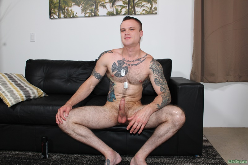 ActiveDuty sexy inked tattoo young muscle dude Cody Smith play hairy ass wanking big dick jerking bubble butt asshole 012 gay porn sex gallery pics video photo - Cody Smith loves to play with his hairy ass as he tugs away at his big dick