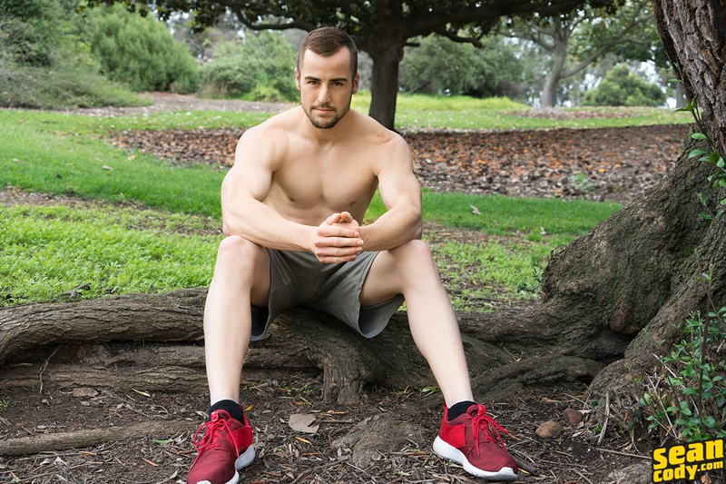 SeanCody sexy young ripped six pack abs muscle boy Tyson strips naked solo jerkoff wanks big American dick bubble butt asshole 007 gay porn sex gallery pics video photo - Tyson strips naked and jerks his big all American dick
