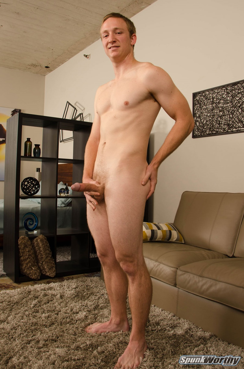 Spunkworthy Good looking straight dude Fitz strips naked big thick 7 inch dick solo jerk off bubble butt ass hole orgasm 005 gay porn sex gallery pics video photo - Good looking straight dude Fitz strips naked revealing a big thick 7 inch dick beneath those baggy clothes