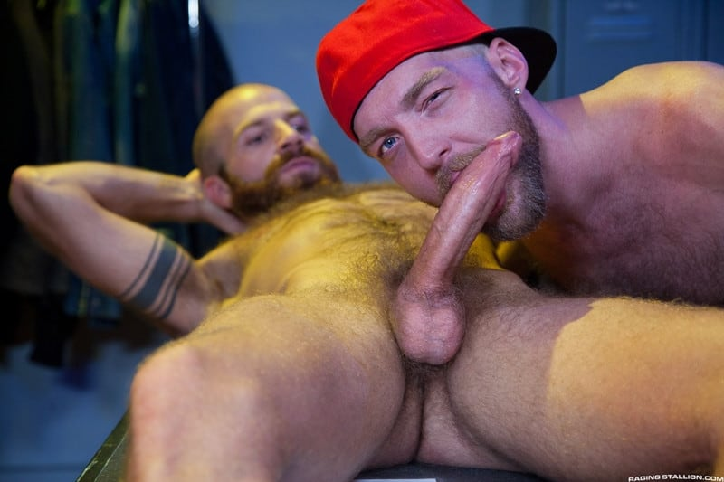 Men for Men Blog Devin-Totter-James-Stevens-bearded-facial-hair-thick-big-dick-sucking-rimming-ass-RagingStallion-001-gay-porn-pictures-gallery Devin Totter bounces up and down on James Stevens' thick pole until his ass is wide open Raging Stallion