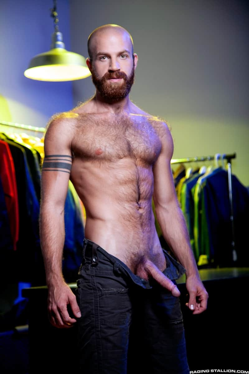 Men for Men Blog Devin-Totter-James-Stevens-bearded-facial-hair-thick-big-dick-sucking-rimming-ass-RagingStallion-003-gay-porn-pictures-gallery Devin Totter bounces up and down on James Stevens' thick pole until his ass is wide open Raging Stallion