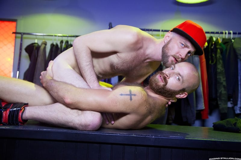 Men for Men Blog Devin-Totter-James-Stevens-bearded-facial-hair-thick-big-dick-sucking-rimming-ass-RagingStallion-011-gay-porn-pictures-gallery Devin Totter bounces up and down on James Stevens' thick pole until his ass is wide open Raging Stallion