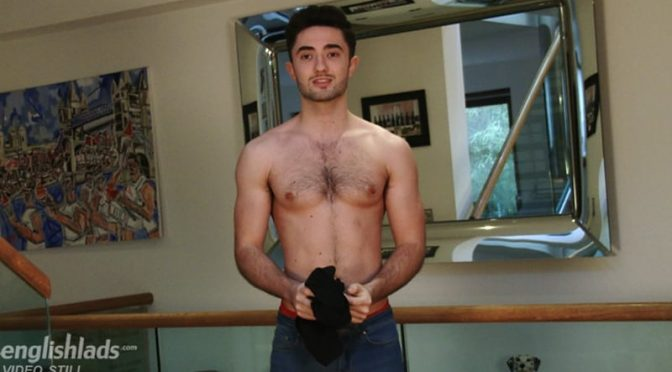 Straight hunk Will Addison show off his bum and hairy hole before power wanking and shooting his load