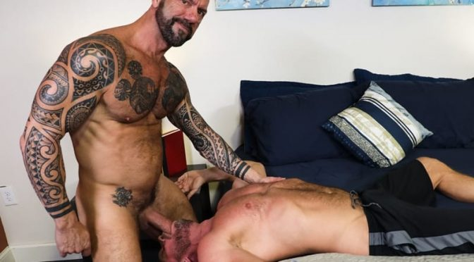 Hairy hunks fucking Vic Rocco drives his big cock deep inside Killian Knox's smooth bubble ass