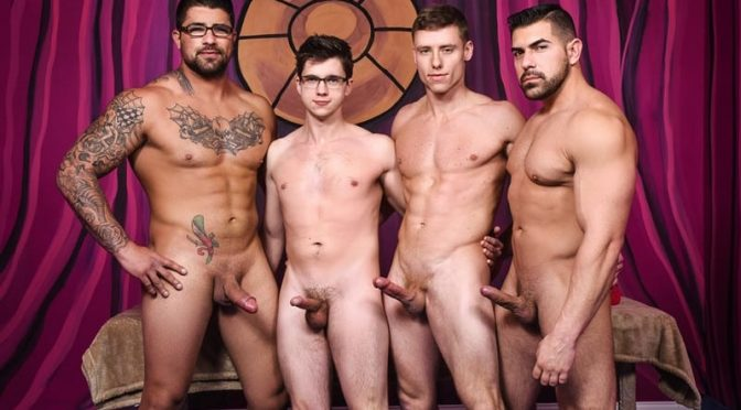 Muscle bound stud Damien Stone, Justin Matthews, Ryan Bones and Will Braun hardcore ass fucking orgy