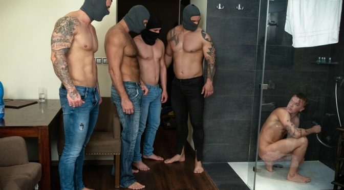Hot naked sub dude passed around four masked men filling his holes