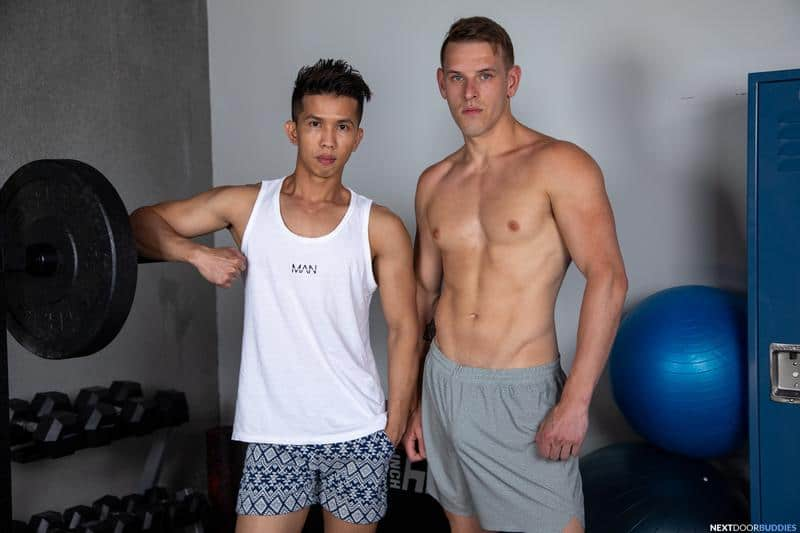 Gym studs ripped muscle dude Shane Cook huge thick dick bareback fucking young Asian Levy Foxx 6 gay porn pics - Gym studs ripped muscle dude Shane Cook's huge thick dick bareback fucking young Asian Levy Foxx